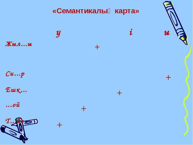«Семантикалық карта» үқіы Жыл...ы+  Си...р+ Ешк......