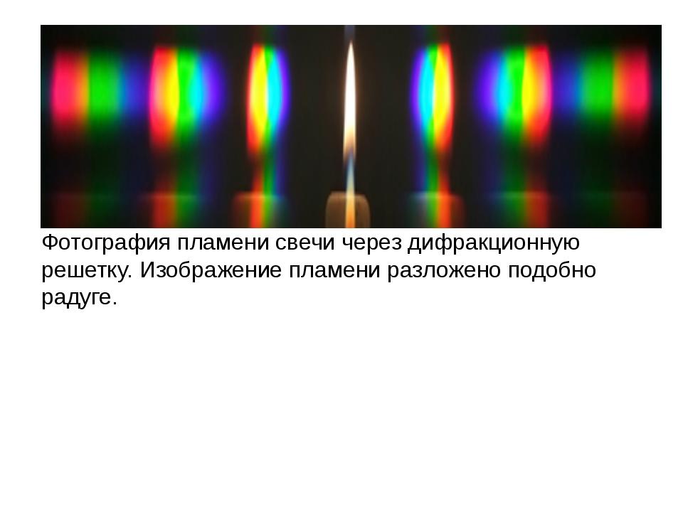 Фотография пламени свечи через дифракционную решетку. Изображение пламени раз...