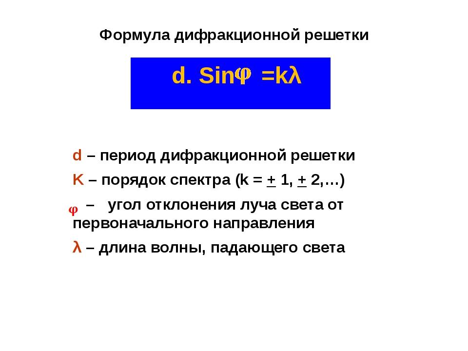Формула дифракционной решетки d. Sin =kλ d – период дифракционной решетки K –...