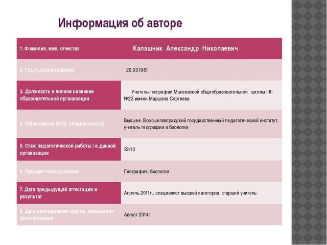 Информация об авторе 1. Фамилия, имя, отчество КалашникАлександр Николаевич...