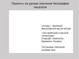 Проекты на уроках изучения биографии писателя ИНФОРМАЦИОННЫЕ «Детство Пушкина