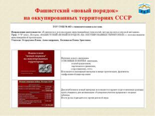 Фашистский «новый порядок» на оккупированных территориях СССР