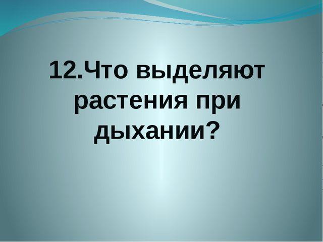 12.Что выделяют растения при дыхании?