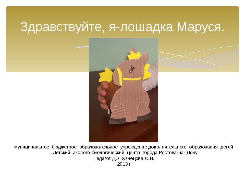 Здравствуйте, я-лошадка Маруся. муниципальное бюджетное образовательное учреж...