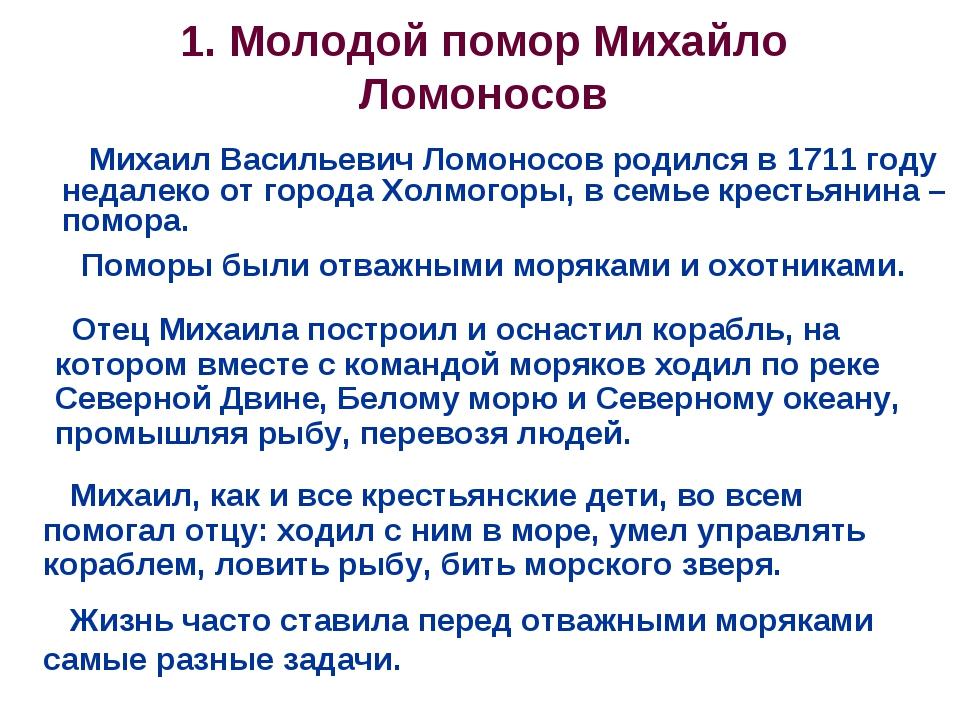 1. Молодой помор Михайло Ломоносов Поморы были отважными моряками и охотникам...