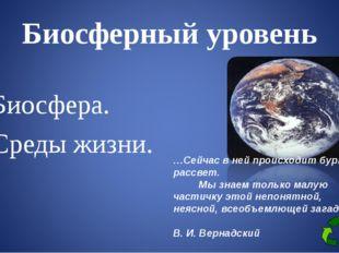 Биосферный уровень Биосфера. Среды жизни. …Сейчас в ней происходит бурный рас