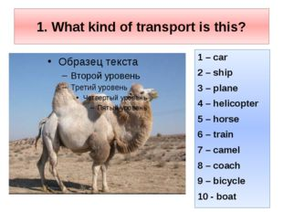 1. What kind of transport is this? 1 – car 2 – ship 3 – plane 4 – helicopter