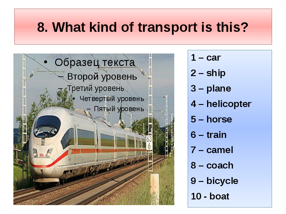 8. What kind of transport is this? 1 – car 2 – ship 3 – plane 4 – helicopter...