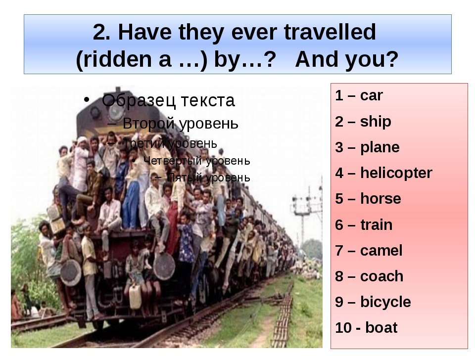 2. Have they ever travelled (ridden a …) by…? And you? 1 – car 2 – ship 3 – p...