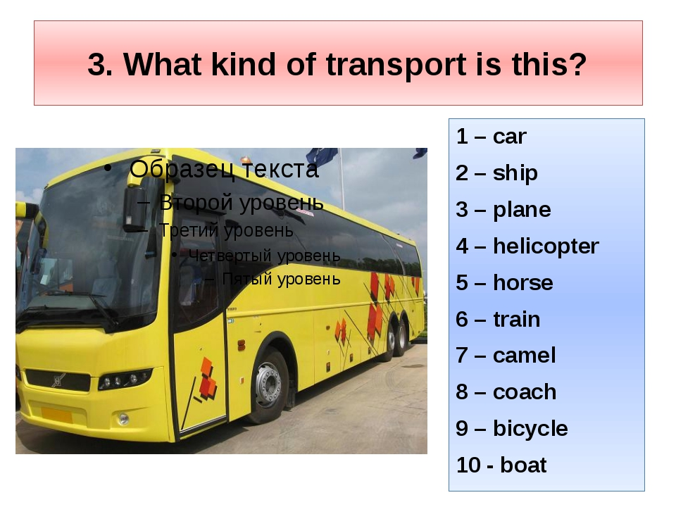 3. What kind of transport is this? 1 – car 2 – ship 3 – plane 4 – helicopter...