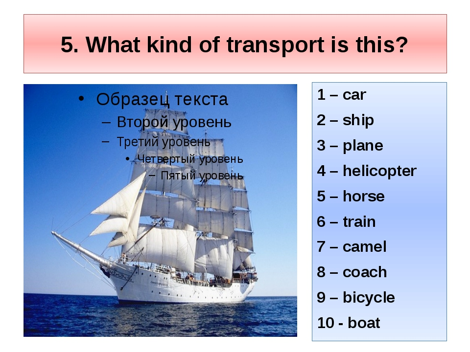 5. What kind of transport is this? 1 – car 2 – ship 3 – plane 4 – helicopter...