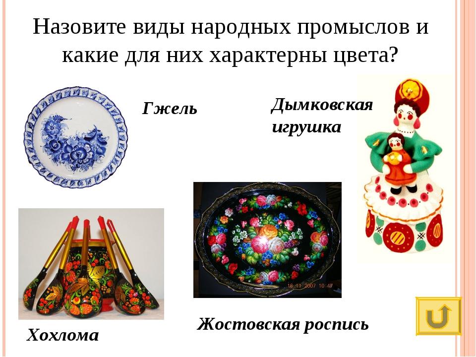 Назовите виды народных промыслов и какие для них характерны цвета? Гжель Дымк...