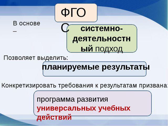 ФГОС системно-деятельностный подход планируемые результаты программа развити...