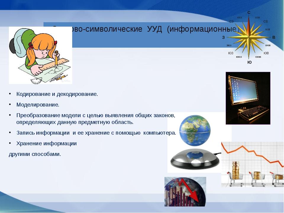 Знаково-символические УУД (информационные) Кодирование и декодирование. Модел...