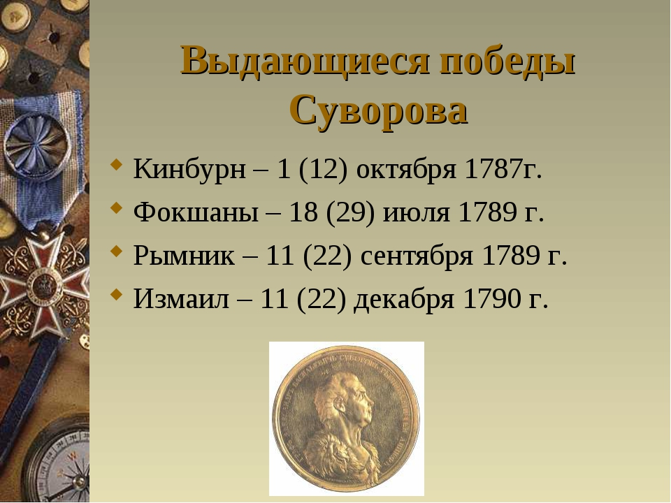 Выдающиеся победы Суворова Кинбурн – 1 (12) октября 1787г. Фокшаны – 18 (29)...