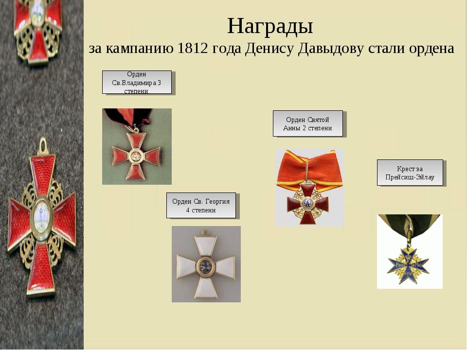 Награды за кампанию 1812 года Денису Давыдову стали ордена Орден Св.Владимира...