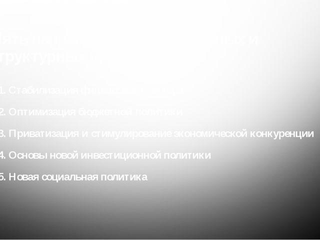 Пять направлений антикризисныхи структурных преобразований 1. Стабилизация ф...
