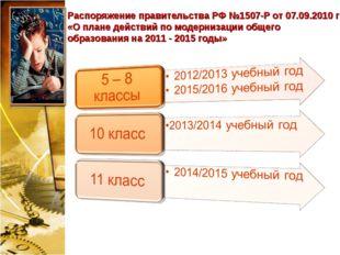 Распоряжение правительства РФ №1507-Р от 07.09.2010 г «О плане действий по мо