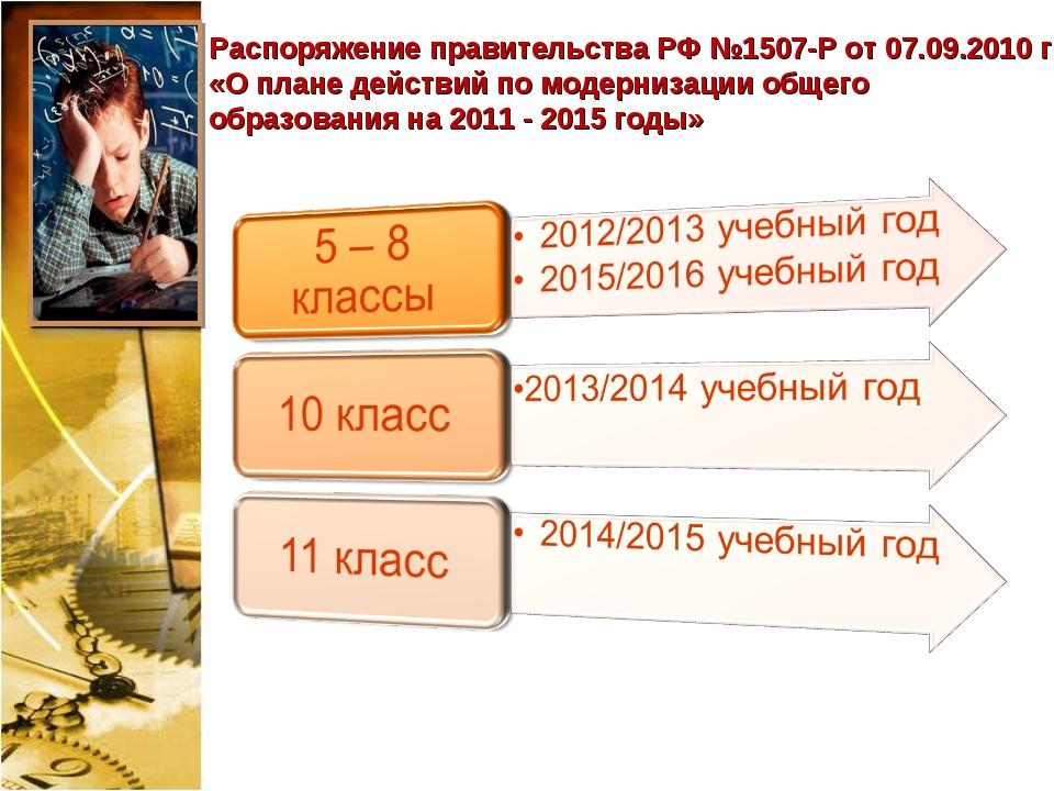 Распоряжение правительства РФ №1507-Р от 07.09.2010 г «О плане действий по мо...