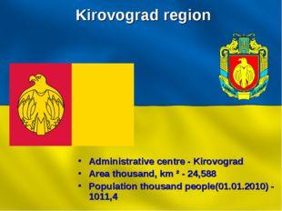Kirovograd region Administrative centre - Kirovograd Area thousand, km ² - 24