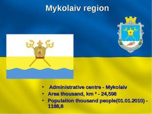 Mykolaiv region Administrative centre - Mykolaiv Area thousand, km ² - 24,598