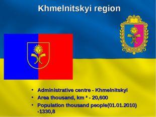 Khmelnitskyi region Administrative centre - Khmelnitskyi Area thousand, km ²