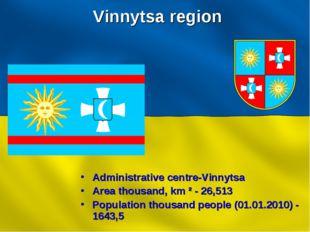 Vinnytsa region Administrative centre-Vinnytsa Area thousand, km ² - 26,513 P