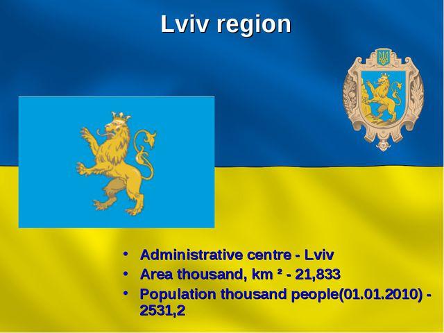 Lviv region Administrative centre - Lviv Area thousand, km ² - 21,833 Populat...
