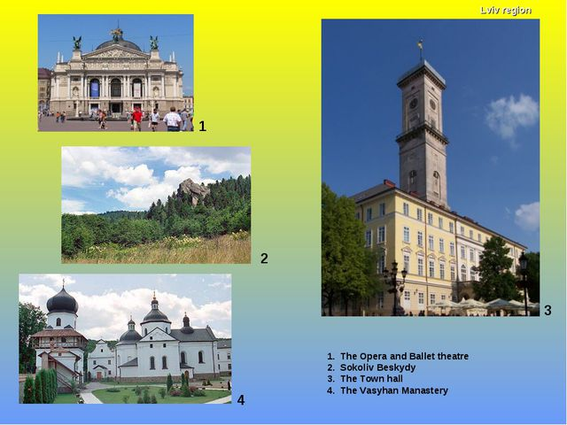 1 1. The Opera and Ballet theatre 2. Sokoliv Beskydy 3. The Town hall 4. The...