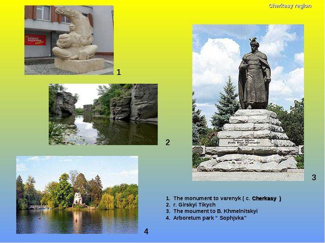 1 1. The monument to varenyk ( c. Cherkasy ) 2. r. Girskyi Tikych 3. The moum...