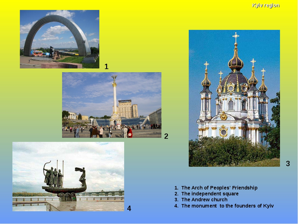 1 1. The Arch of Peoples' Friendship 2. The independent square 3. The Andrew...