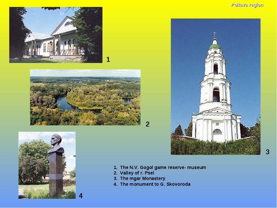 1 1. The N.V. Gogol game reserve- museum 2. Valley of r. Psel 3. The mgar Mon...
