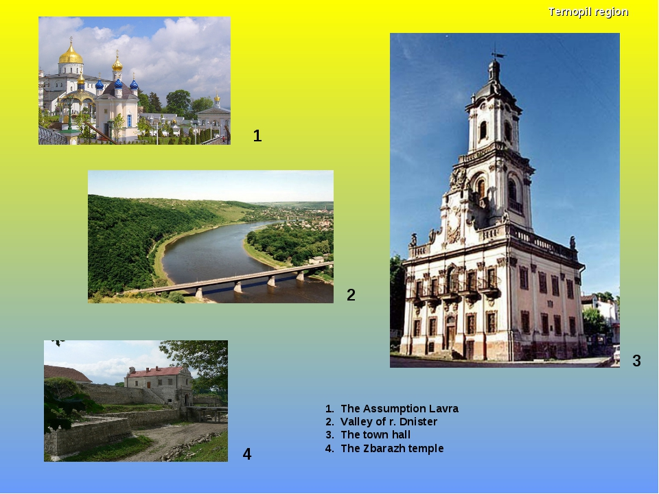 1 1. The Assumption Lavra 2. Valley of r. Dnister 3. The town hall 4. The Zba...