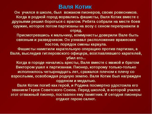 Валя Котик Он учился в школе, был вожаком пионеров, своих ровесников. Когд...