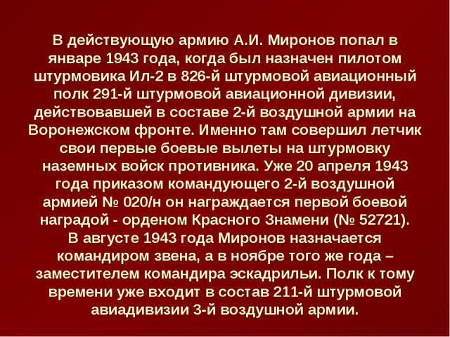 В действующую армию А.И. Миронов попал в январе 1943 года, когда был назначен...