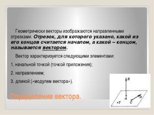 Определение вектора. Геометрически векторы изображаются направленными отрезка