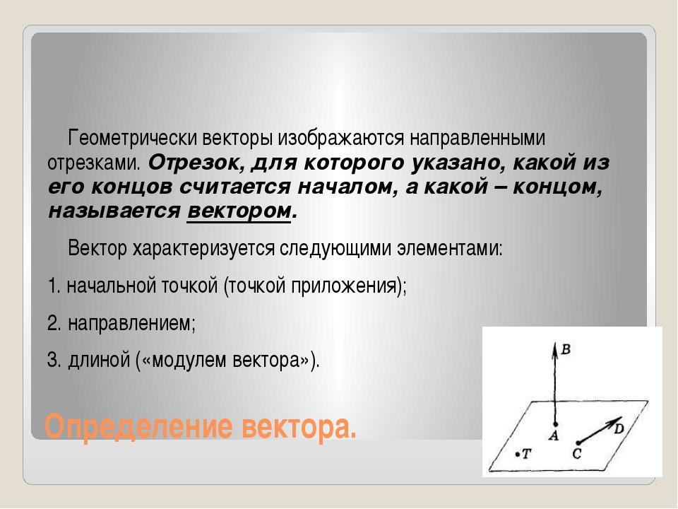 Определение вектора. Геометрически векторы изображаются направленными отрезка...