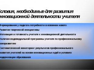 Условия, необходимые для развития инновационной деятельности учителя Формиров