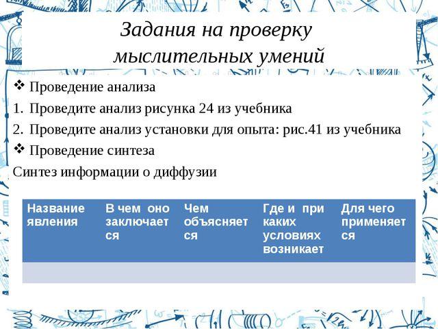 Задания на проверку мыслительных умений Проведение анализа Проведите анализ р...
