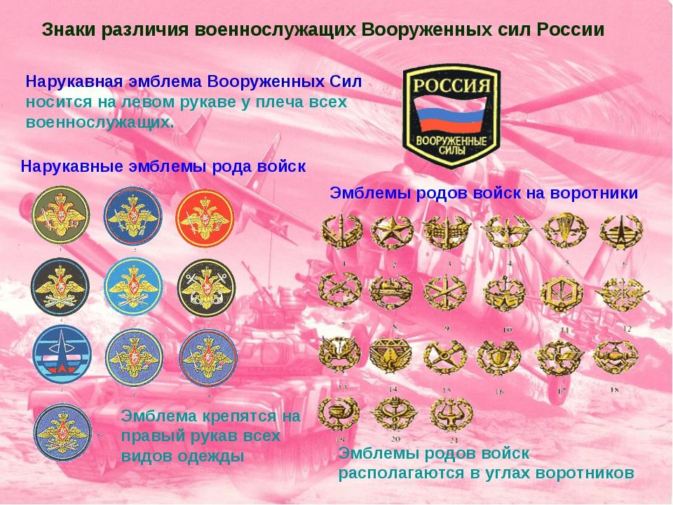 Нарукавная эмблема Вооруженных Сил носится на левом рукаве у плеча всех военн...
