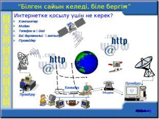 Компьютер Модем Телефон жүйесі Бағдарламалық қамтылу Провайдер Интернетке қос
