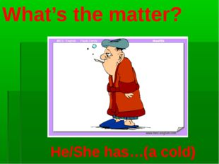 What's the matter? He/She has…(a cold)