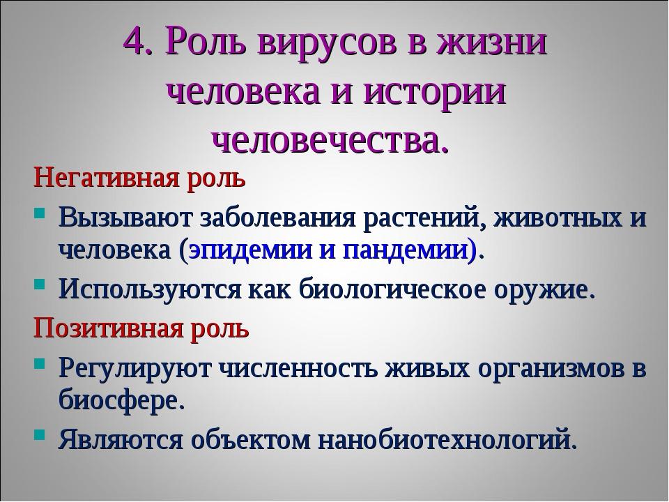 4. Роль вирусов в жизни человека и истории человечества. Негативная роль Вызы...