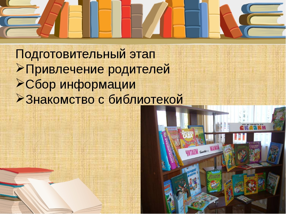 Подготовительный этап Привлечение родителей Сбор информации Знакомство с библ...