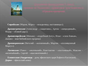 Церковные имена (конец Х века) пришли из Византии с принятием христианства и