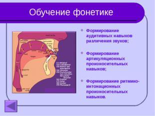 Обучение фонетике Формирование аудитивных навыков различения звуков; Формиров