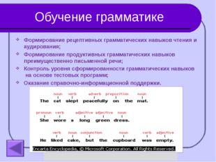 Обучение грамматике Формирование рецептивных грамматических навыков чтения и