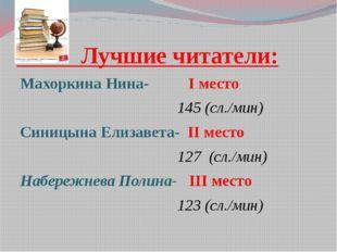 Лучшие читатели: Махоркина Нина- I место 145 (сл./мин) Синицына Елизавета- I