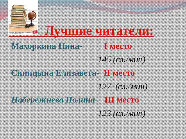 Лучшие читатели: Махоркина Нина- I место 145 (сл./мин) Синицына Елизавета- I...