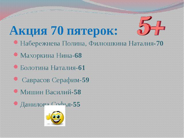 Акция 70 пятерок: Набережнева Полина, Филюшкина Наталия-70 Махоркина Нина-68...
